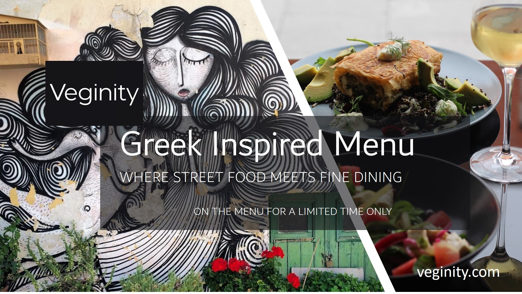 Plant based Greek inspired menu